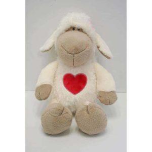 """בובת הכבשה רוזה """"לב"""" (25 – 35 ס""""מ) ניקי NICI"""