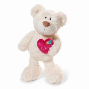 """בובת דובי אהבה עם לב ורוד ורחב (20 – 35 ס""""מ) ניקי NICI"""