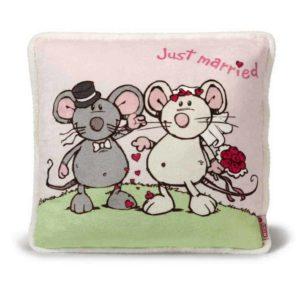 """כרית מרובעת זוג עכברים פרוותית (35×35 ס""""מ) NICI"""